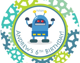 Personalized Stickers Robot, Birthday Personalized Labels - Robot Birthday