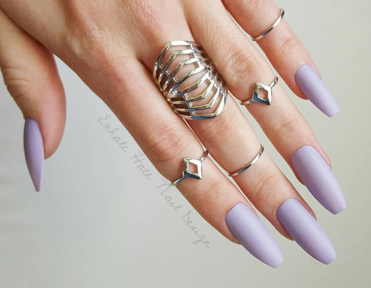 Lavender Purple Fake Nails Press On Nails Matte Nails
