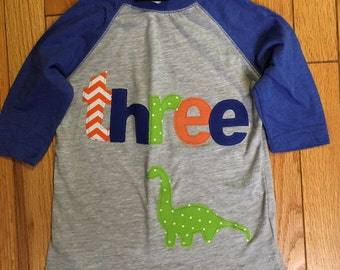 Three dinosaur birthday t shirt, boys dino birthday shirt, 3rd birthday boy shirt dinosaur shirt, raglan, brontasaurus lime green blue orang