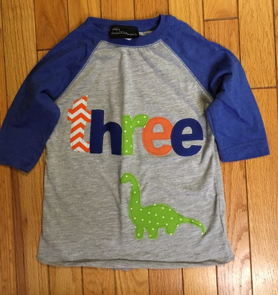 Three dinosaur birthday t shirt, boys dino birthday shirt, 3rd birthday boy shirt dinosaur shirt, raglan, brontasaurus lime green blue orang