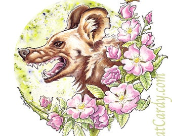 Wild Dog Rose - Original African Painted Dog Painting