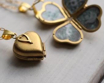Friends & Family Locket ... Blank Heart Locket Four Photos Gold Vintage Brass