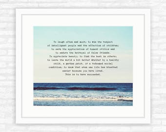 To laugh often Emerson, To have succeeded quote, attributed to Emerson, seascape, ocean