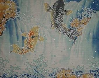 Koi Fabric Japanese Furoshiki 'Jumping Koi Carp' Fabric Cotton 50cm w/Free Insured Shipping
