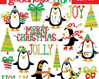 Buy 2, Get 1 FREE - Penguins at Christmas Clipart - Digital Christmas Clipart - Instant Download