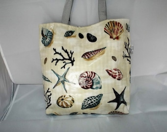 Oilcloth Tote Bag, Beach Bag, Tote Bag, Shopping Bag, Holidays, waterproof bag. shells, Bagsoffuncreations 0290