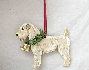 Hand-Painted SOFT-COATED WHEATEN Terrier Wood Christmas Ornament...Artist Original, Christmas Tree Ornament Decoration