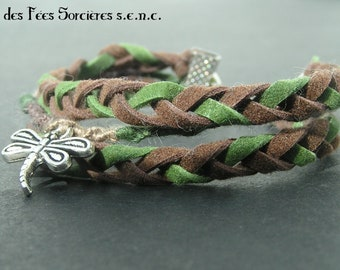 Bohemian bracelet, shades of green and brown, dragonfly pendant, forest style, nature, open air, fairy people