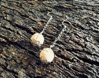 Cork ball and stainless steel earrings-ball jewellery collection