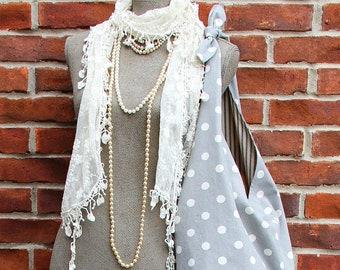 FRANCINE Français grand sac gris à pois crème strass bouton Vintage Style fourre-tout sac à bandoulière sac besace en tissu ample du marché