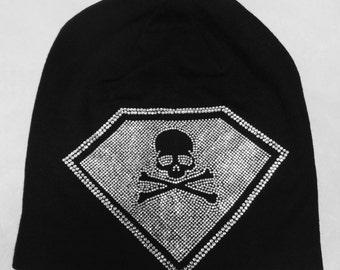 Rhinestone Beanie Skully Slouchy Hat, Skull Hat