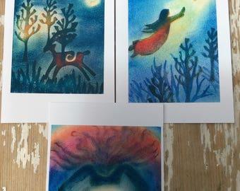 Three Spirit Cards, Magical Cards, Inspirational Cards