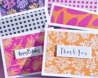Preppy Nautical Note Cards Nautical Stationery Lilly Pullitzer Inspired Thank You Cards Birthday Cards Hawaii Coral Notecards - lpty