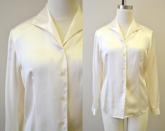 1980s Cream Silk Blouse