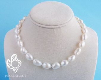 Large Baroque pearl necklace,Freshwater pearl necklace,Gift for her,Christmas gift,big baroque pearl necklace,blue gray pearl necklace