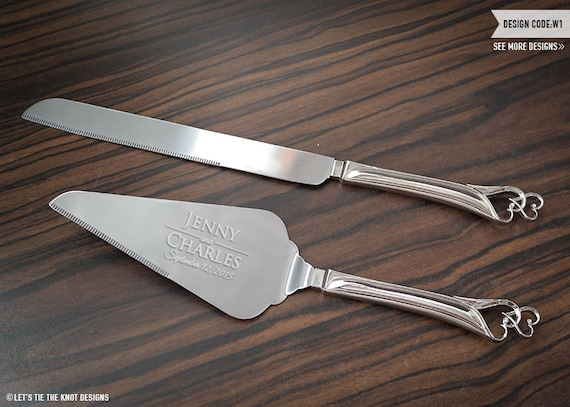 personalized double heart wedding cake knife and server set. Black Bedroom Furniture Sets. Home Design Ideas