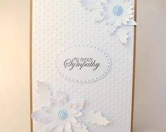 Sympathy card | White card | Loss card | Mourning card | Floral card | Kraft card | OOAK Handmade card