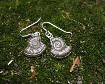 Sterling Silver Solid Pyrite Ammonite Earrings