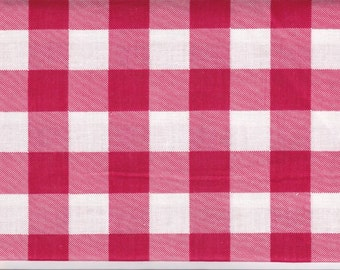 """Fat Quarter 1 Inch Red Gingham Check Blend Fabric - 18"""" X 24"""" 4 Charm Quilt Piecing - Patchwork - Sewing Craft Material 2029 FQ"""