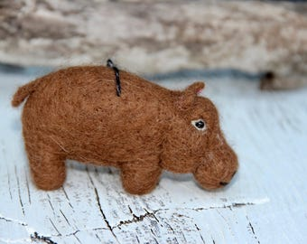 Needle Felted Hippo Sculpture: Real Alpaca Fiber