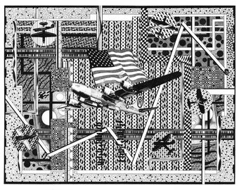 Enola Gay B29 WWII Aircraft American Flag Pen and Ink Black and White Graphics