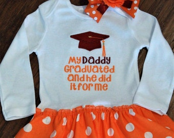 College graduation, graduation, graduation cap, school graduation, orange, white, Tennessee, bodysuit, baby girl dress, baby girl clothes