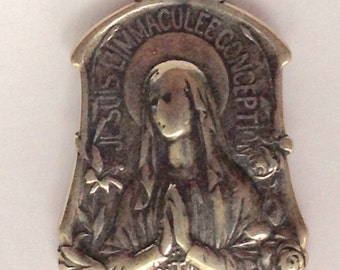 Our Lady of Lourdes St Bernadette Medal Solid Sterling Silver I am the Immaculate Conception Antique Replica Unique