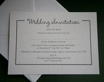 10 Personalised Wedding / Evening Invitations - White, Ivory - Postcard Style