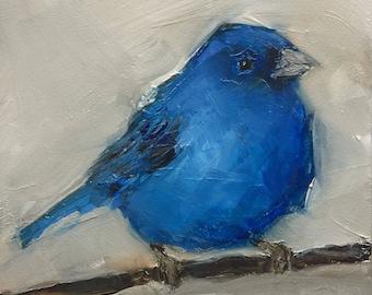 BLUEBIRD BLUE BIRD Colette W. Davis 4x4 Art Giclee print
