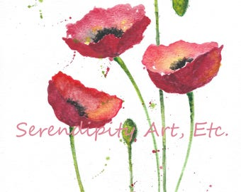 "Red Poppies - 9"" x 12"" Original Watercolor"
