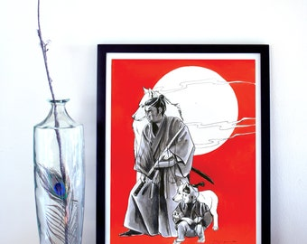 Lone Wolf and Cub Fine Art Print, Lone Wolf and Cub Poster, Samurai Poster, Movie Poster, Comic Art