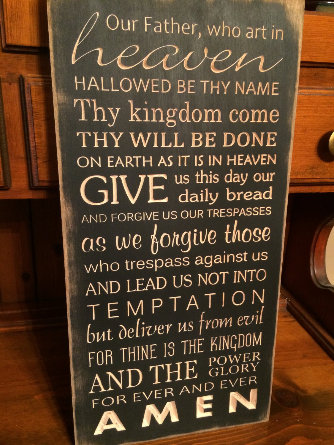 Custom Carved Wooden Sign Lord S Prayer Our