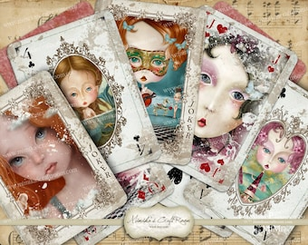 Charming Ladies playing cards, full deck, printable digital collage sheet, Whimsical scrapbook paper, digital paper, printable ATC labels