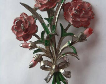 Vintage Signed Exquisite Pink Carnations Brooch/Pin