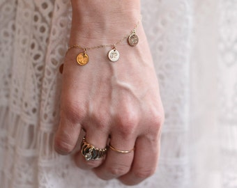 READY-TO-SHIP: Personalized Charm Bracelet in Yellow Gold-Fill, Charm Bracelet, Yellow Gold Charm Bracelet, Gold Charm, Personalized Charm
