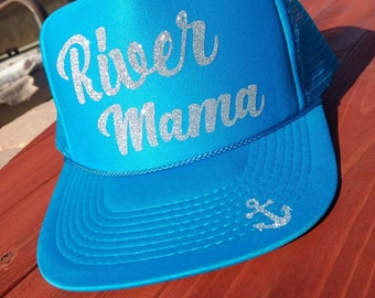 River Mama//Trucker Hats//Custom Hats//Women'sTrucker Hats//Accessories//River Trucker Hats//Fun Hats//River Hats