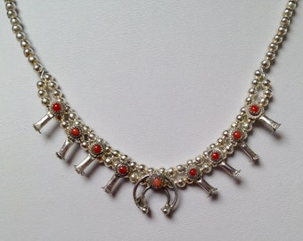 """Native American Navajo Sterling Red Coral Baby Squash Blossom Necklace 16.5"""" Signed Larry  Curley"""