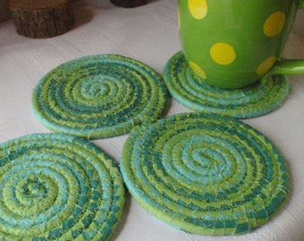 Green and Blue Coiled Fabric Coasters - Set of 4 for Kitchen, Absorbent Coasters, Handmade by Me