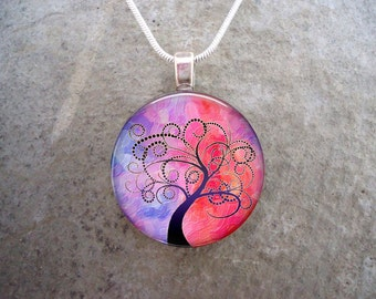 Tree Jewelry - Glass Pendant Necklace - Tree of Life Jewellery - Tree 3