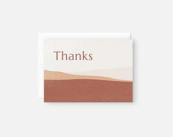 Modern Thank You Card Set / Desert Thank You Card Pack / Thank You Card Bulk / Thank You Note Set / Orange, Pink, Rust / Bridal Shower