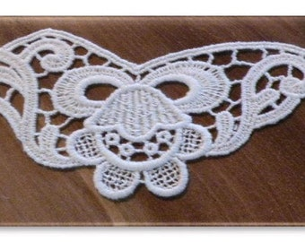 100% Organic Cotton Lace Insert, Natural, Undyed, 45mm