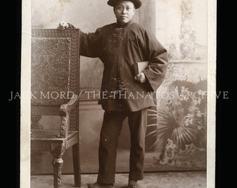 rare vintage photo chinese man - student or businessman in new york 1880s