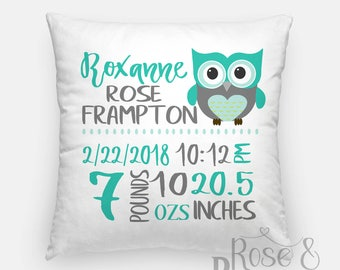 Personalized Baby Stat Pillow Owl | Birth Announcement Pillow | Baby Gift | Name Pillow | New Baby