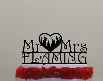 Heart Flaming Cake Topper with Your Surname, Mr Mrs with Hearts on Fire