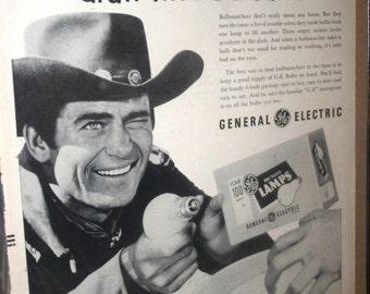 Vintage 1956 General Electric Light Bulbs Advertisement