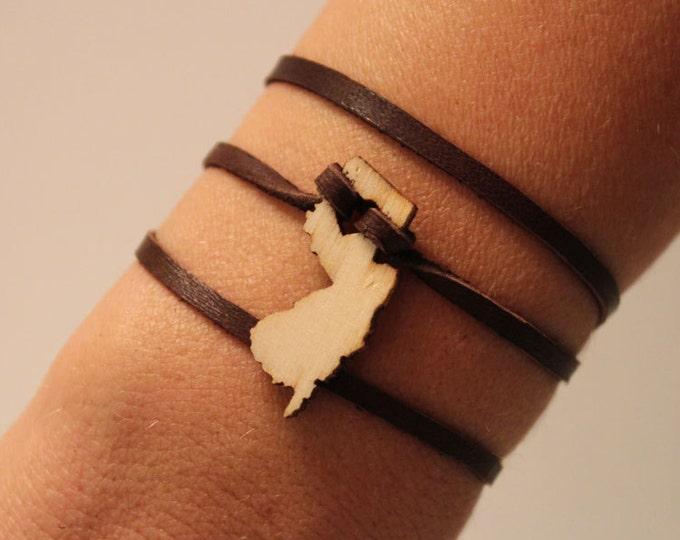 New Jersey Leather Wrap Bracelet