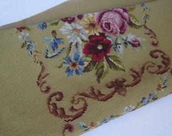 Vintage Floral Needlepoint Panel