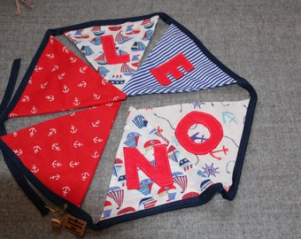 Personalised Handmade Bunting Boats Anchors Nautical Red Blue Navy
