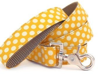 Yellow Polka Dot Dog Leash - Preppy Dog Leash - Dog Lead - Yellow Leash - 4ft, 5ft and 6ft Lengths