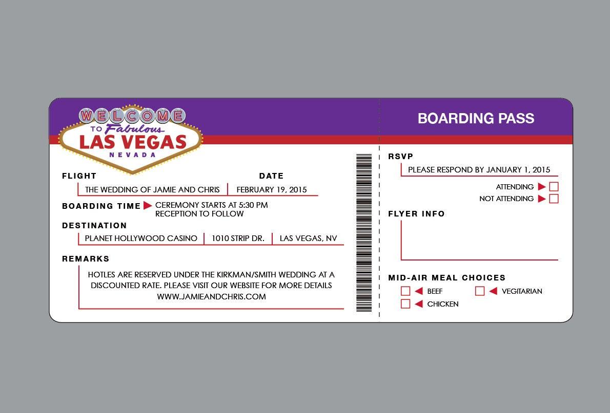 Vegas wedding destination invitations